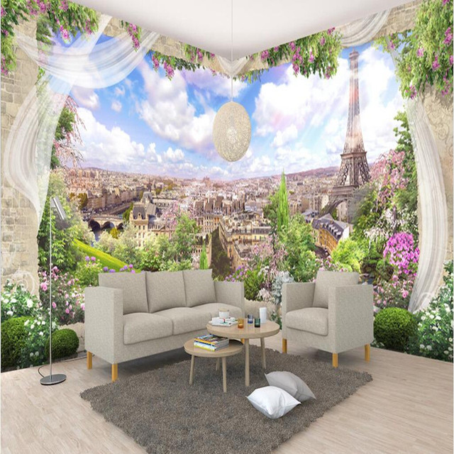 Custom Various Size Photo Wall Mural Wallpaper Paris Landscape