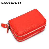 COHEART Genuine Leather Card Wallet Women 100 Real Cowhide Top Quality Women S Purse Female Wallet