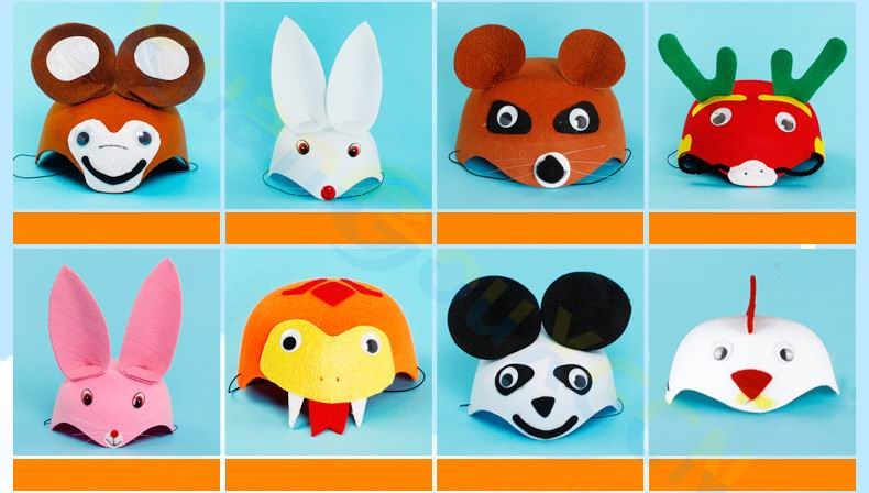 50pcs children Halloween Christmas kids adult Party props Cosplay Costumes 3D hat birthday Kindergarten game Cartoon animal cap