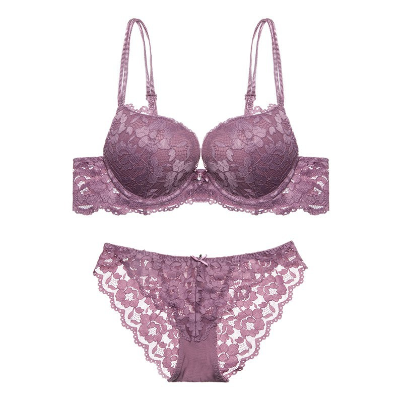 Solid Lace   Bra     Brief     Sets   Women Lingerie   Sets   Push Up Underwire Padded   Bra   Hollow Out   Briefs   Floral Embroidered Underwear   Sets