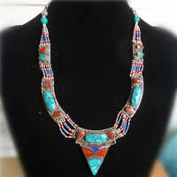 TNL217 Indian Nepal Hand Vintage Necklace Tibetan Ethnic BOHO Jewelry Free ship