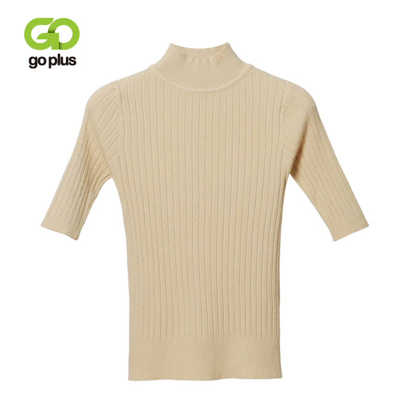 GOPLUS Solid Knitted Sweater Women Turtleneck Half Sleeve Slim Pullovers Ladies 2019 Winter Fashion Casual Sweater Female Pull in Pullovers from Women 39 s Clothing