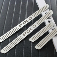Free Shipping For VOLKSWAGEN POLO STAINLESS DOOR SCUFF SILL PANEL STEP PLATES Car Accessories