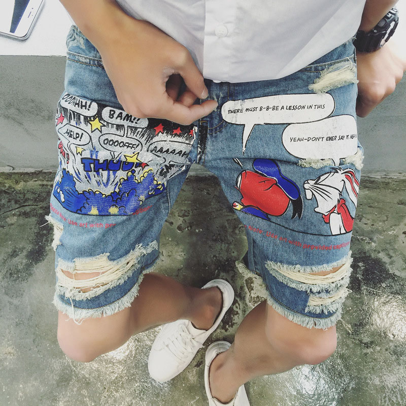 New Summer Cartoon Print Men's Hole Ripped Jeans For Men Thin Denim Short Jeans homme Male Straight Knee Length For Teenager lowest price men s lightweight classics jeans for men summer thin blue denim short jeans homme male straight knee length