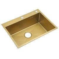 Brushed Gold Single Sink Bowel 30 Inch 9 Gauge Kitchen Sink SUS304 Stainless Steel Kitchen Towel Undermount Basket Strainer