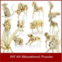 Горячая 12 видов стилей детей деревянные DIY 3D Обучающие пазлы игрушка Тренировки Мозга головоломки игра моделирование модели предметы мебели