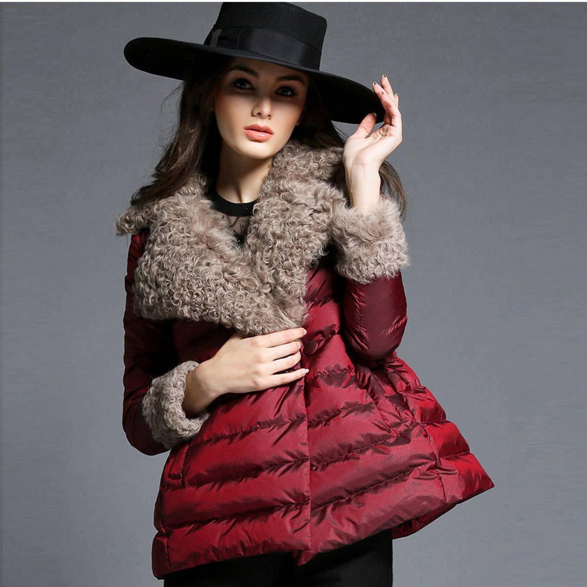 Fashion Style New Womens Fur Collar Red Duck  Coats Warm Cape Coat Women Short Parka Jacket Outwear Female Winter Jackets sweet vintage style purple winter cape for women mandarin collar wool cape