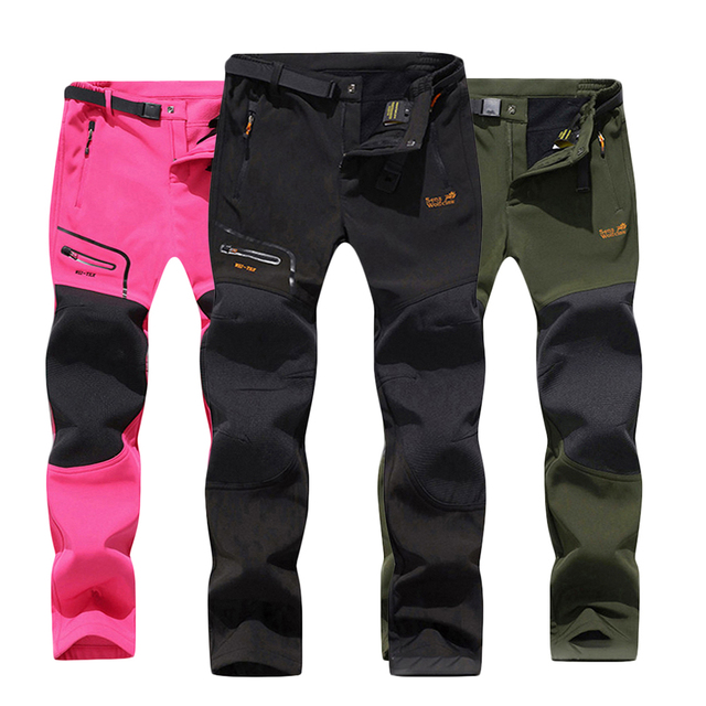 Зимних походов брюки флис softshell брюки мужчины открытый брюки женщины водонепроницаемый горный треккинг рыба лыж спорт 15 цветов тактические брюки