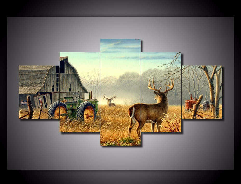 Modern Canvas Printed Painting Poster 5 Pieces Whitetail Deer Farm Home Decor For Living Room Wall
