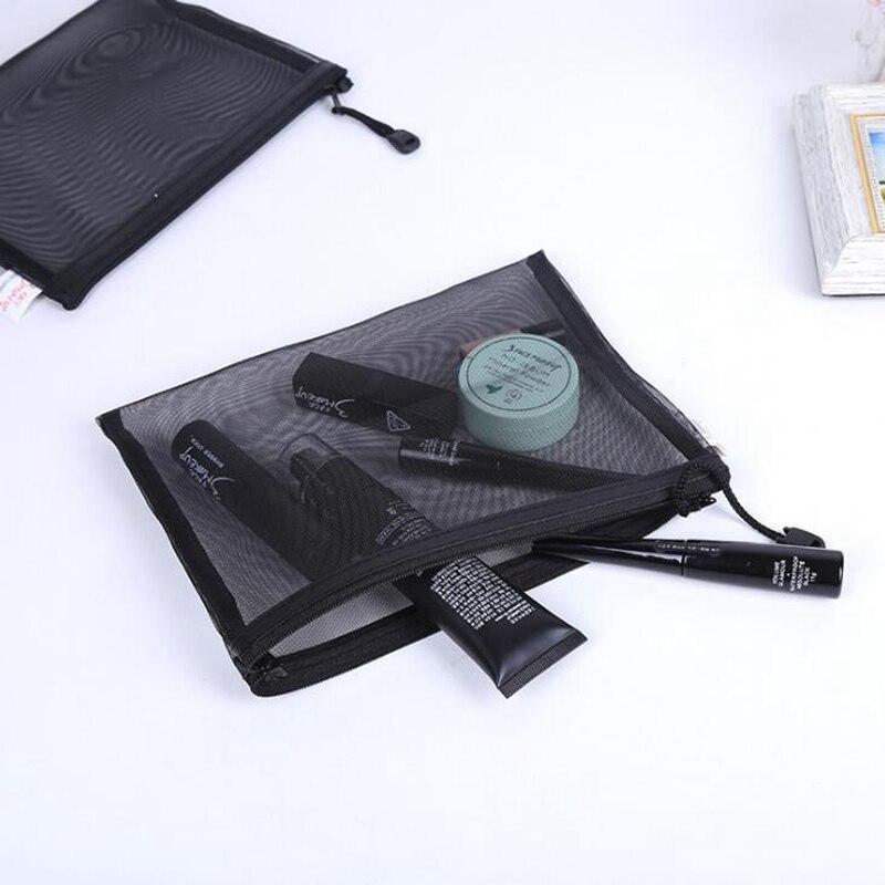 Women's Fashion Black Mesh Cosmetic Bag Transparent Lace Large Capacity Cosmetics Zipper Organizer Hand Travel Toiletry Bag B340