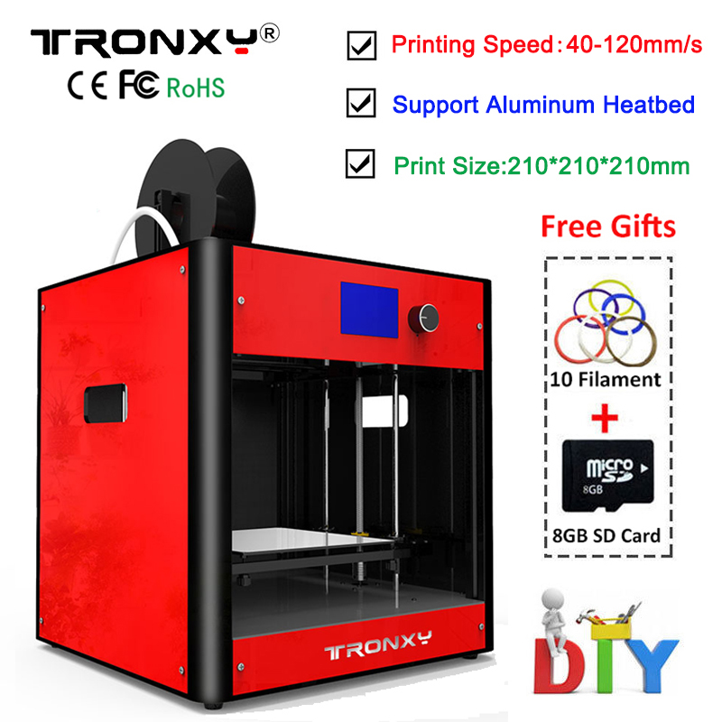 2018 Tronxy 3d Printer Kit Aluminum metal Large Printing size 210x210x210mm Extruder Heatbed 10M Filament +8G SD Card AS Gifts tronxy 3d printer all metal upgrade frame 3 3 lcd screen dual z axis extruder 3d printer diy kit 10m filament 8g sd card gift