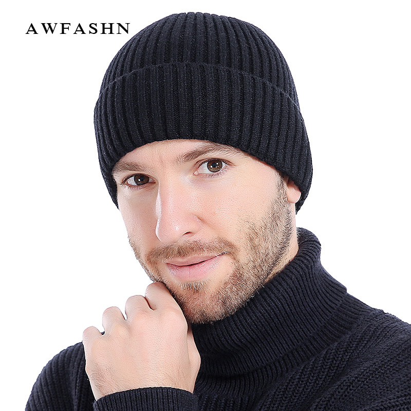 Constructive 2018 High Quality Solid Color Wool Knit Beanies Winter Man Warm Male Ski Soft Thicken Hedging Cap Trucker Skullies Dad Hats Bone To Win A High Admiration
