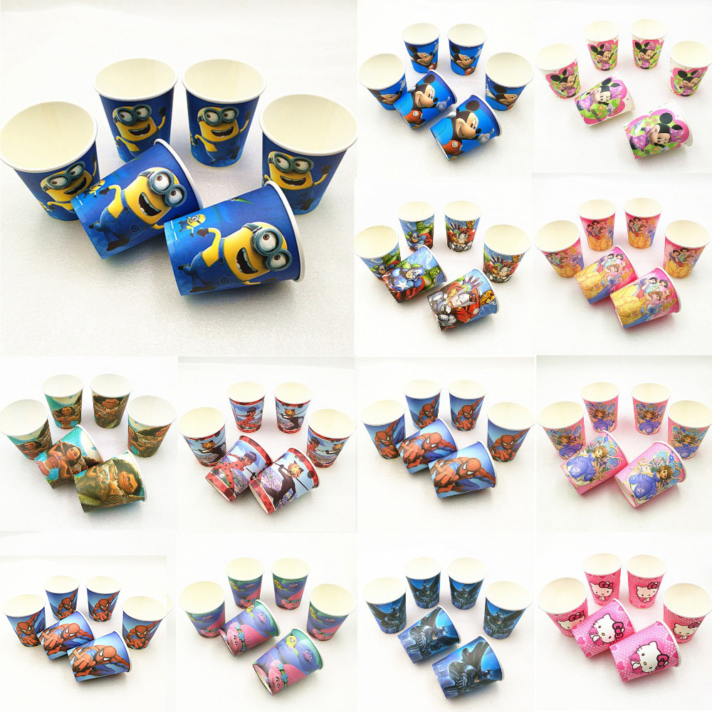 10pcs Sofia <font><b>Princess</b></font> Avengers Mickey Minnie Mouse Spiderman Minion Moana Trolls Cups Birthday <font><b>Party</b></font> Supplies Decoration image