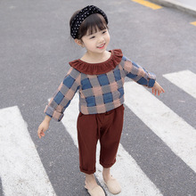 лучшая цена Girls clothes spring and autumn 2019 new cotton plaid baby suit long-sleeved shirt + pants children's clothing
