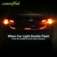 Carro-Styling LDRIVE Carro Vermelho Colorido Lâmpada Traseira Da Luz Da Cauda Do Carro Luz de Freio Sinal de Volta Amarelo Tira CONDUZIDA Lanterna Luz de advertência