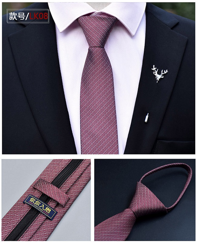 New 6m Zipper Men Ties Business Fashion Style Slim Men Neck Tie Simplicity Design Solid Color For Party Lazy Formal Ties in Men 39 s Ties amp Handkerchiefs from Apparel Accessories