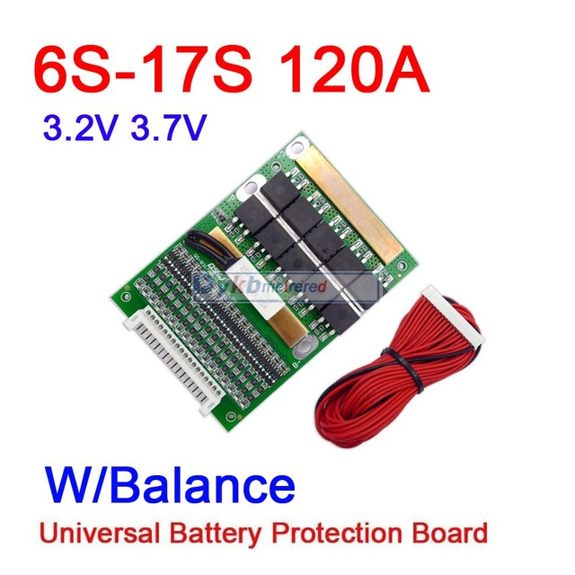 Dykb 6s 17s 50a 80a 120a com equilíbrio bms lifepo4 li ion bateria de lítio placa de proteção 24v 36v 48v 60v 7s 8s 10s 12s 13s 14s 16S