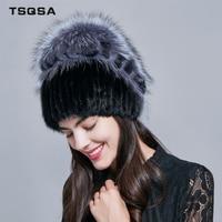 TSQSA Real Fox Fur Cap Winter Warm Beanies Fashion New Women Hat Natural Mink Fur Lady Caps Female Fur Hats TAH1806