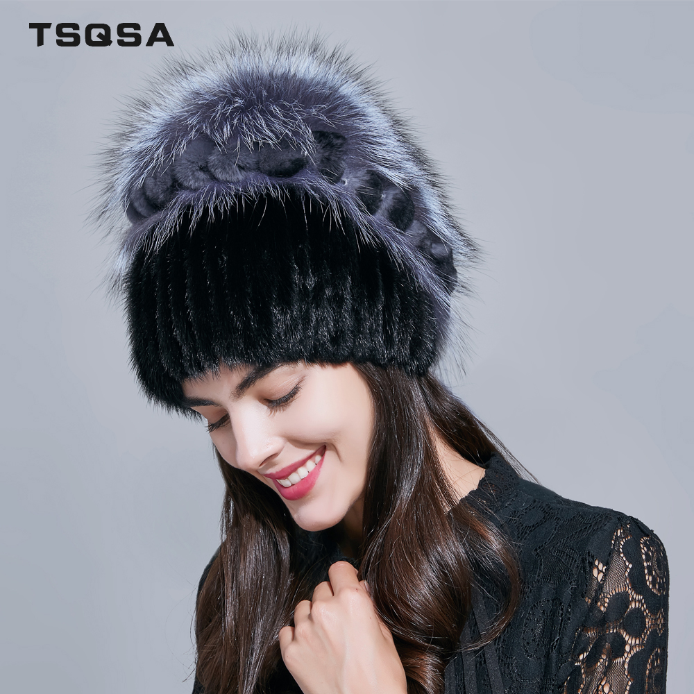 TSQSA Winter Warm Real Fox Fur Cap Beanies Fashion New Women Hat Natural Mink Fur Lady Caps Female Fur Hats TAH1806
