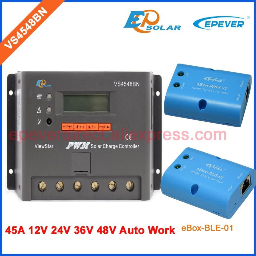 PWM lcd controller VS4548BN wifi abd BLE BOX solar charger controller EPSolar/EPEVER 45A 45amp 12v/24v/36v/48v pwm new viewstar series solar battery charge controller vs4548bn 45a 45amp epever epsolar 12v 24v 36v 48v auto work
