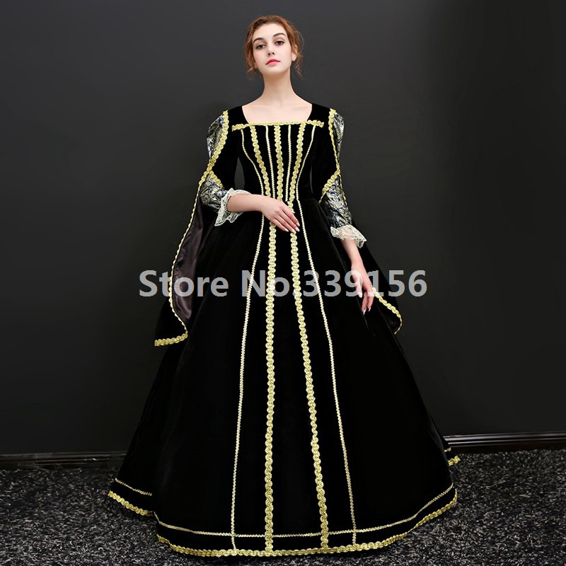 Upscale Halloween Vampire Queen Black Dresses Gothic Carnivale Ball Gowns Medieval Masquerade Dresses