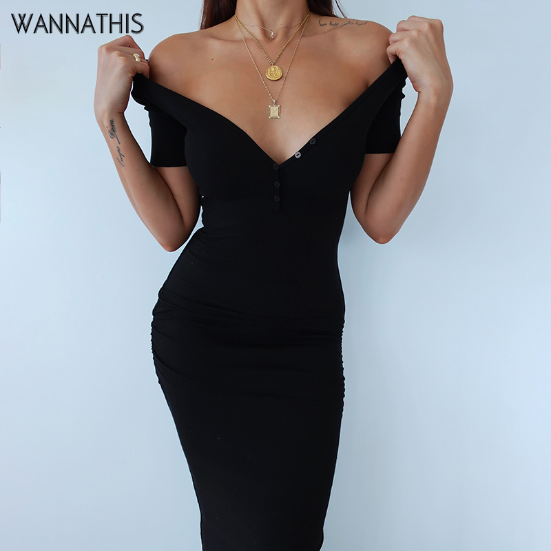 WannaThis Ankle-Length Knitted Dress Sexy Short Sleeve Summer Casual Stretchy Elastic Elegant V-Neck Women Solid Dresses Bodycon