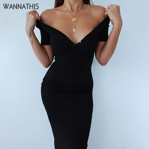Image 1 - Wannathis足首までの長さドレスセクシーな半袖サマーカジュアルストレッチ弾性エレガントなvネックの女性の固体ドレスボディコン