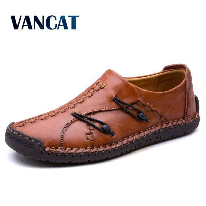 2018 yeni hakiki deri makosenler erkekler Moccasin Sneakers üzerinde kayma düz yüksek kaliteli rahat erkek ayakkabısı yetişkin erkek ayakkabı tekne ayakkabı