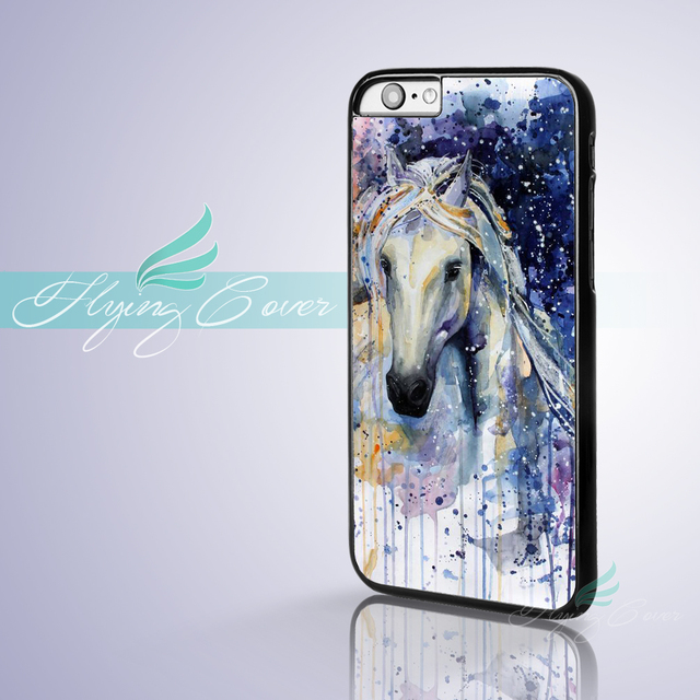 huge discount 3fae2 84c51 US $6.95 |Fundas Watercolor White Horse Capa Phone Cases for iPhone X 8  8Plus 7 6 6S 7 Plus SE 5S 5C 5 4S 4 Case for iPod Touch 6 5 Cover.-in ...