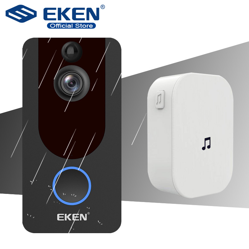 Eken v7 hd 1080 p wi fi inteligente câmera de vídeo campainha intercom visual visão noturna campainha da porta ip sem fio câmera segurança