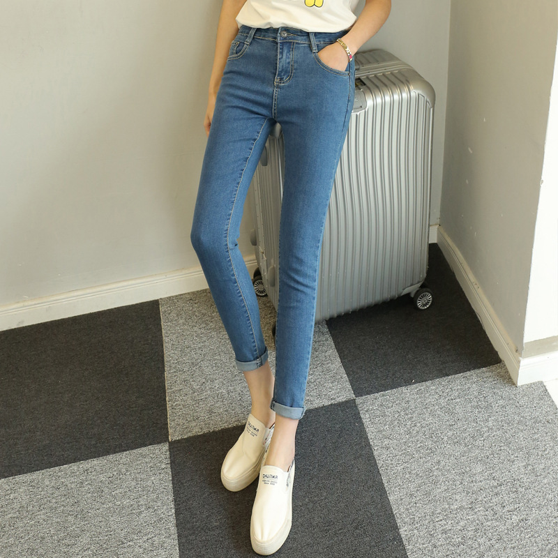 2017 New Jeans Women High Waist High Elastic Jeans Women Hot Sale American Apparel Skinny Pencil Denim Pants Fashion Feet 2017 new jeans women spring pants high waist thin slim elastic waist pencil pants fashion denim trousers 3 color plus size
