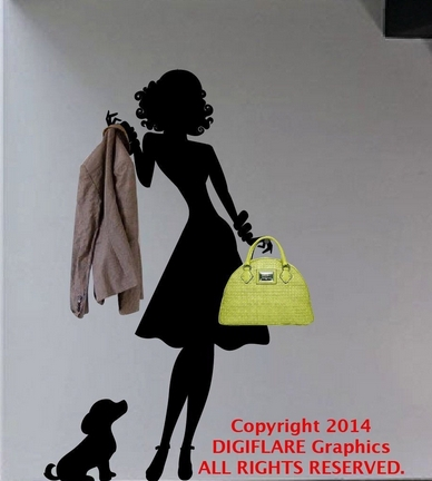 Clothes shop vinyl wall decal sexy woman and dog coat rack mural art wall sticker clothing store bedroom home decoration in wall stickers from home garden