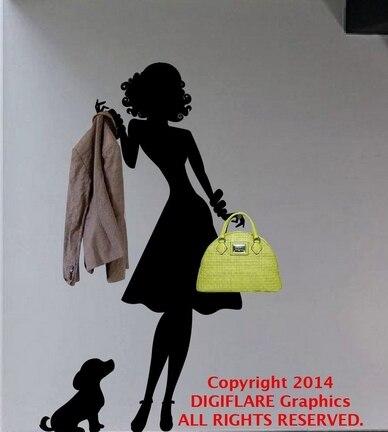quần áo cửa hàng tường vinyl decal sexy phụ nữ và con chó áo khoác giá bức tranh tường nhãn dán tường nghệ thuật cửa hàng quần áo phòng ngủ trang trí nội thất