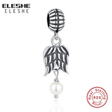 ELESHE Authentic 925 Sterling Silver Angel Feather Wing Imitation Pearl Pendant Charm Fit Original ELESHE Bracelet DIY Jewelry