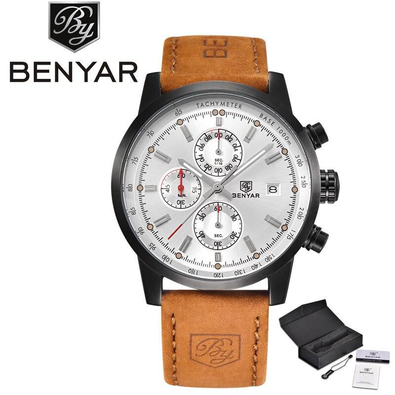 купить BENYAR High Quality Date Display Soprt Army Men Quartz Watch Genuine Leather Band Black Round Dial Aviator Fashion Wristwatch недорого