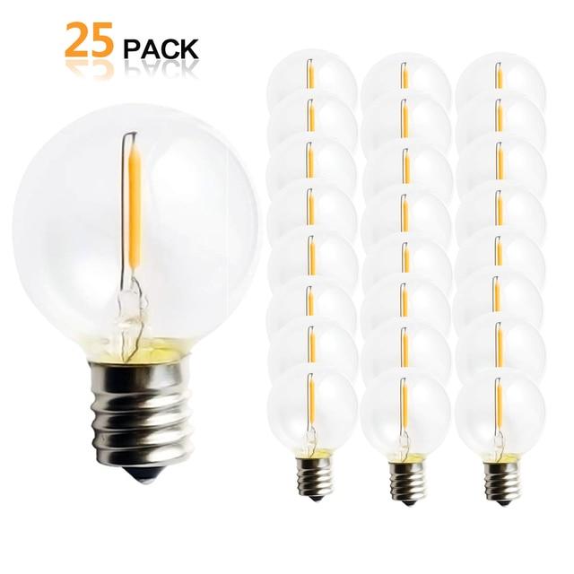 25 個 G40 1 ワット Led ストリングライト交換電球 E12 220 V 110 V ウォームホワイト 2700 18K LED 交換 G40 5 ワット 7 ワット白熱電球
