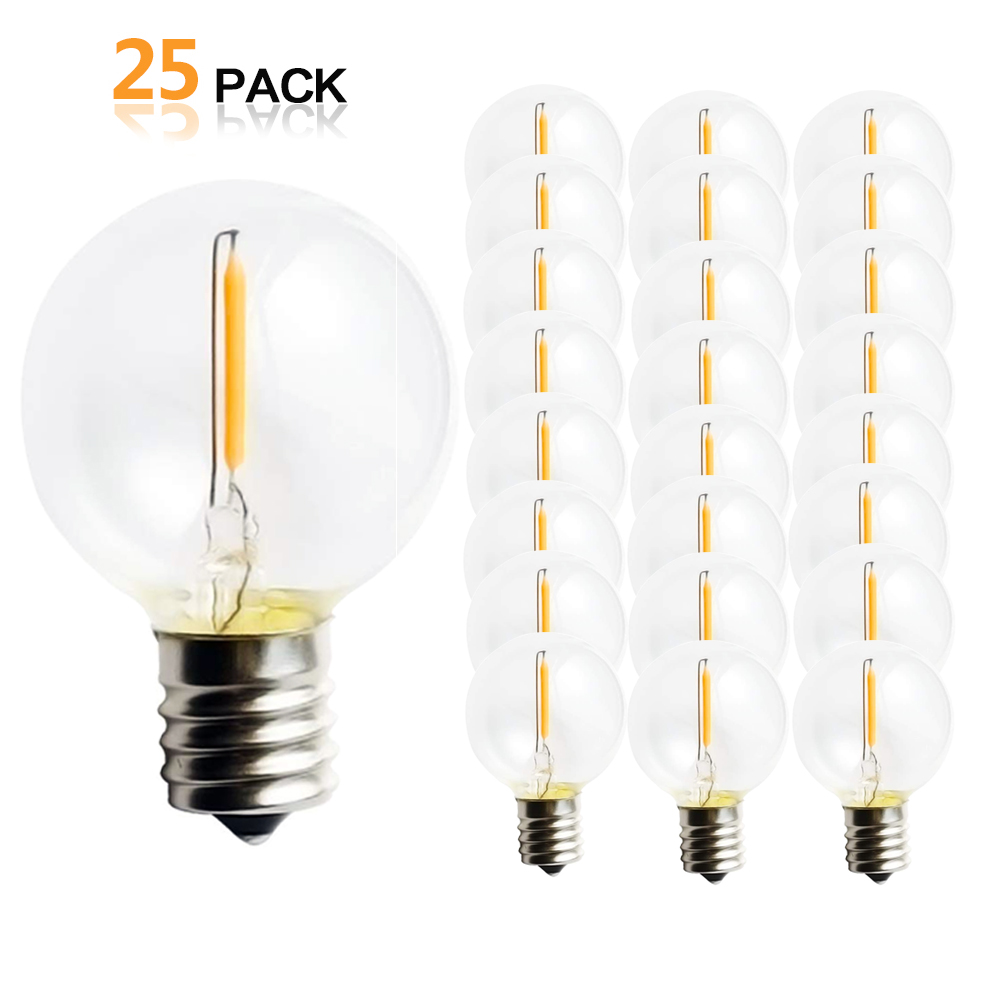 25PCS G40 1W LED String Lights Replacement Bulb E17 E12 Base Warm White 2700K Glass Light Bulbs 360 Grad Beam Angle Non Dimmable