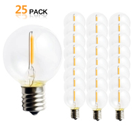25PCS G40 1W LED String Lights Replacement Bulb E12 220V 110V Warm White 2700K LED Lamps Replace G40 5W 7W Incandescent Bulbs