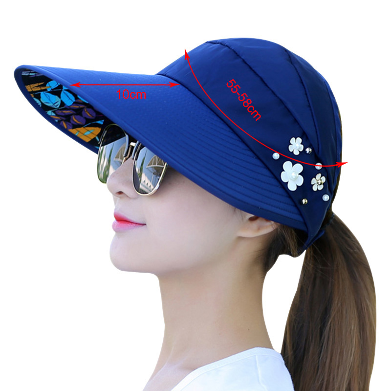 5b312fec6 foldable fashion women summer sun hat shades beach ladies caps with faux  flower pearls designer wide brim visors hat blue pink