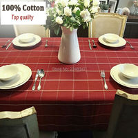 Pure Cotton Classic Dinner Party Table Cloth Photography Prop Desk Sofa Cover Square Rectangular Picnic Outdoor Red Plaid Check