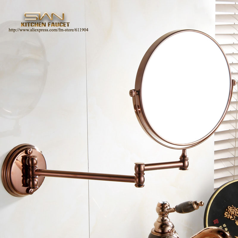 Free Shipping Brass Rose Red 8 Round Magnifying Mirror Double Side 3x to 1x  Bathroom Make Up Mirror Wall Mount 3D62021 large 8 inch fashion high definition desktop makeup mirror 2 face metal bathroom mirror 3x magnifying round pin 360 rotating