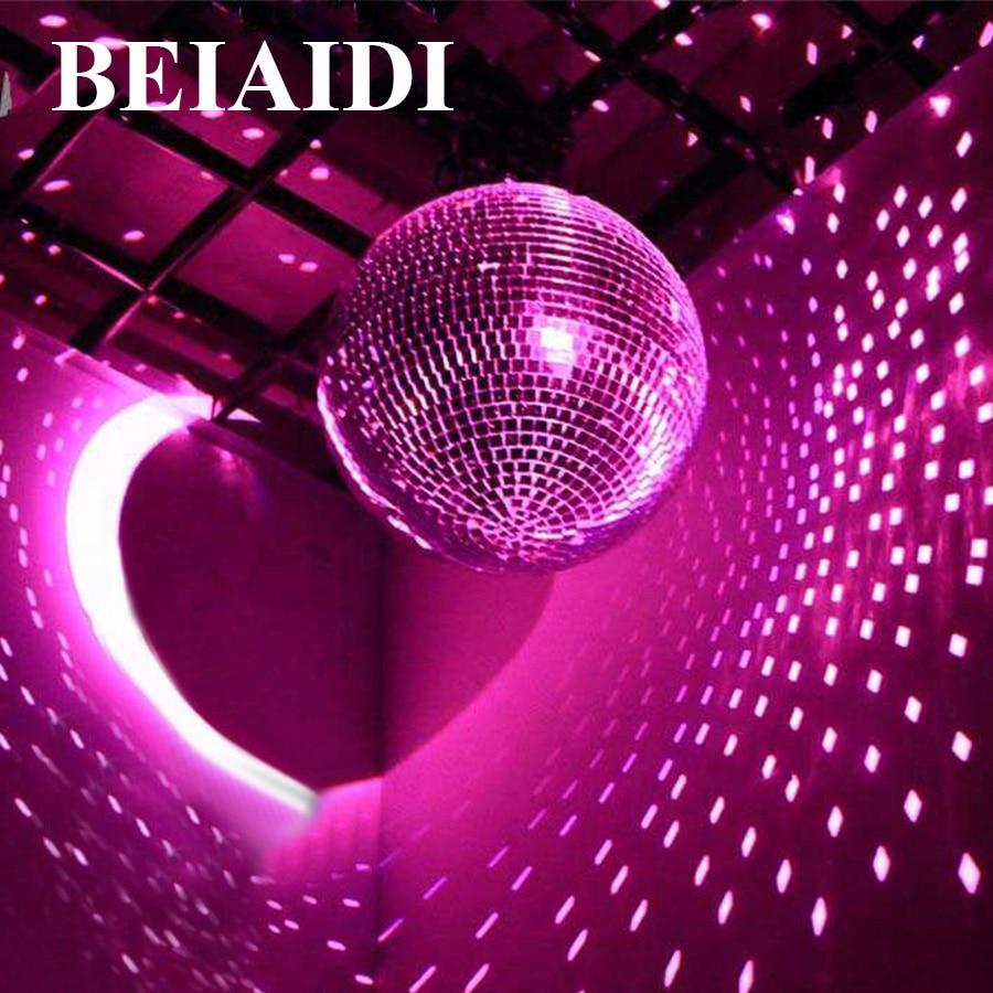 BEIAIDI D25CM 10Inch Glass Rotating Disco Mirror Ball + 10W RGB Beam Pinspot Lamps + AC Motor Party Wedding Disco Ball Light