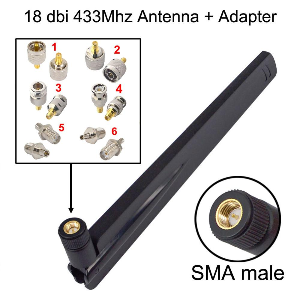 433Mhz Antenna 18dbi SMA Male Booster+RF Connector SMA Female To Ts9 CRC9 N F BNC TNC TV Male Female Adapter
