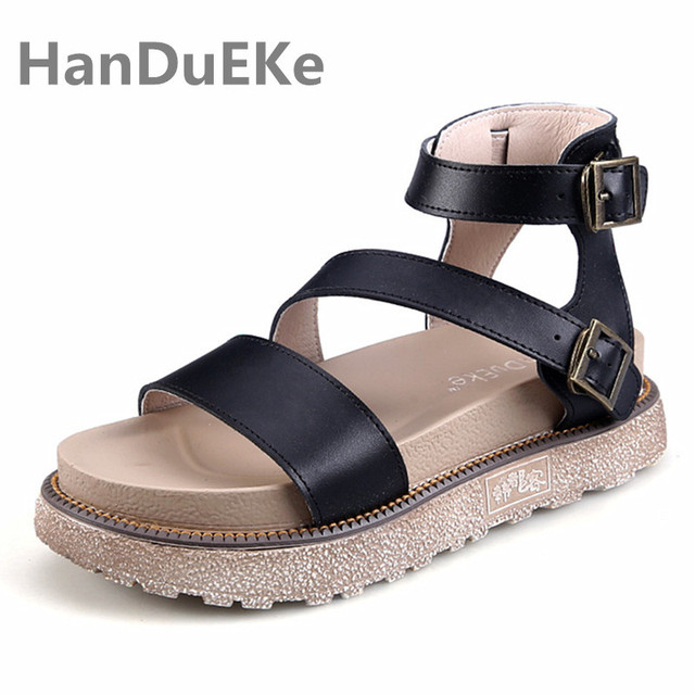 5fd03b4a4 Big Sale New Woman Shoes Summer 2019 Genuine Leather Womens Sandals Fashion  Platform Sandals Women Big Size 34-43 Ladies Shoes