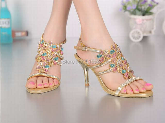 8075a2c919d3 hot 2018 new arrival bling bling rhinestone flower high heels sandals  colorful crystal women gold peep