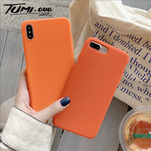 Scrub Orange Solid Color Cover Cases For Huawei Enjoy 6s 7 7s 8 Plus 9 Honor 6x 7x 8x Max 9 10 Lite Play Mate 10 20 Lite Nova 2i(China)
