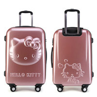 Girls Hello Kitty Trolley Suitcase 3D Cartoon Trolley Luggage Bag Women Hard Shell Luggage 24 Rolling Luggage