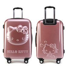 Girls Hello Kitty Trolley Suitcase 3D Cartoon Trolley Luggage Bag Women Hard Shell Luggage 24″ Rolling Luggage