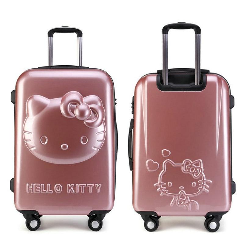 "Girls Hello Kitty Trolley Suitcase 3D Cartoon Trolley Luggage Bag Women Hard Shell Luggage 24"" Rolling Luggage"