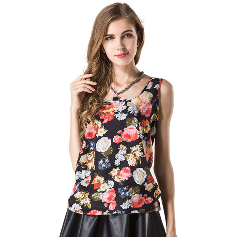 Women's Clothing Buy Cheap Blouse Aliexpress Blusa Feminino European Womens Blouses Large Size Printing Sleeveless Vest Chiffon Loose Shirt Vestidos Lh006